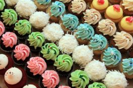 24749414 - tray of colorful mini cupcakes, also available in vertical